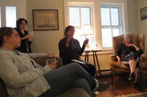 Visiting writers. From left, Mel Bramble, Addy McCulloch, Lee Moore Crawford and Melissa Hassard. Photo by C. Leinbach