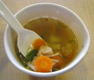 "Kentucky Fried Chicken soup in Indonesia. Chicken pieces and vegetables in chicken broth soup. This kinds of soup actually a typical Indonesian ""sayur sop"" (chicken vegetable soup), contains chicken, carrot, potato, green bean, onion and celery."