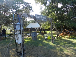 Blackbeard's Pirate Crew of Hampton, Va., sets up camp on the Berkley Manor grounds. Photo by C. Leinbach