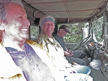 Carmie Prete and Mickey Baker with Jason Daniels on their way back from feeding their cats that had been without food for 2 1/5 days. Photo by C. Leinbach