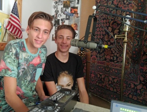 Julian and Adrian Woodrow, Take 2 visit WOVV, Ocracoke's community radio station. Photo by P. Vankevich