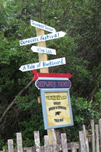 Ocracoke Alive sign at the entrance to the Deepwater Theater on School Road.