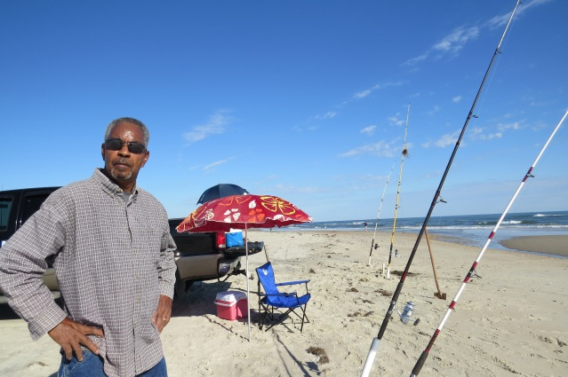 James Joyce of Mount Airy enjoys fishing on Ocracoke in late fall.