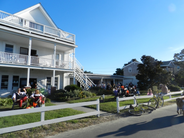 Trick-or-treating at the Island Inn on Lighthouse Road.