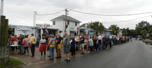 The line for the annual Oyster Roast at the Ocracoke Seafood Company.