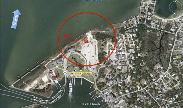 This map shows the proposed launch site for fireworks on July 3, 2016. The red circle shows the area that would have to be temporarily evacuated.
