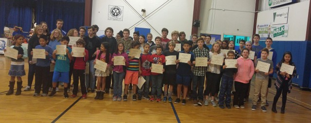 Ocracoke School students with all A's & B's. Photo by P. Vankevich