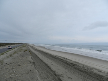 The area of Highway 12 that has been built up for the last several weeks and was over washed Sunday. Photo by C. Leinbach