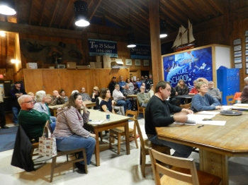 Islanders pack the Ocracoke School commons room Monday night in anticipation of the speaking about the proposed noise ordinance. Photo by C. Leinbach
