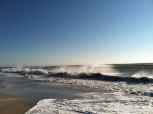 Winter winds whip the waves at the Ocracoke beach. Photo by C. Leinbach