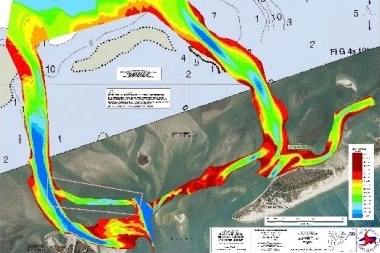The boxed area (lower left) indicates the shoaled channel to be dredged if the Army Corps and the state can work out an agreement and obtain permits. Dredging would allow fishing vessels to safely reach the Atlantic Ocean.