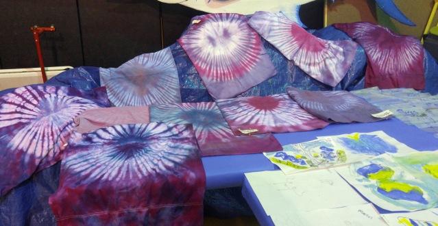 Tie-dye shirts by students. Instructor, Kim Hansen