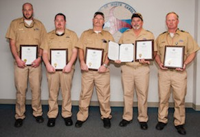 From left, M/V Silver Lake crew members are: Crew Members Simon J. Robinette, William D. Smith, Randy K. Willis, Captain Mark A. Piner, and Chief Engineer David P. Styron. Not pictured: Chief Engineer Gerry Gillikin. Photo courtesy of NCDOT