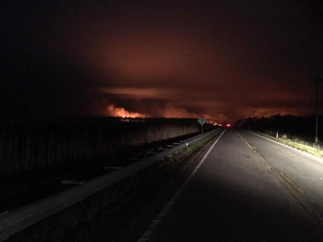 Photo from the Whipping Creek Fire. The photos were taken between the Hyde County Airport and the Long Shoal River Bridge, April 19.