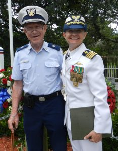 Jim Gray of Buxton with Captain Patricia hill, commanding officer of the U.S. Cost Guard Sector NC, Hatteras.