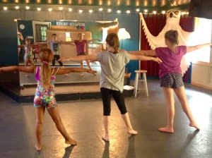 Students in the Ocracoke Performing Arts School will present a recital in several spots in the village from 10 a.m. to 1 p.m. Saturday. Intermediate dance students are, from left, Shayna Brooks, Maren Donlon and Maggie Evans. Not pictured, Melanie Perez. Photo: Desiree Christa Ricker