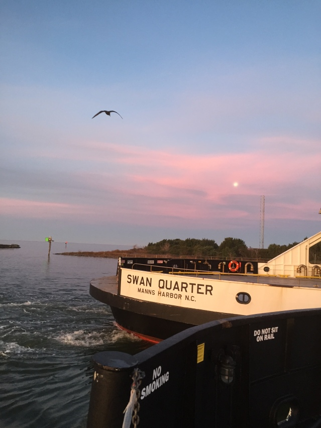 The ferry leaves Ocracoke in the early morning. Photo: C. Leinbach