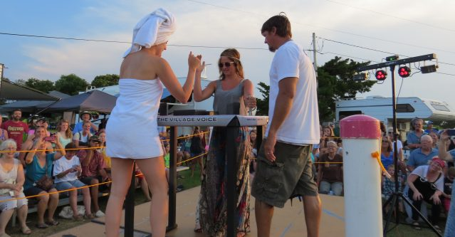 Contestants face off at last year's annual Women's Arm Wrestling Tournament benefitting local radio station WOVV.
