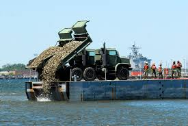 Oyster reef restoration, courtesy of commons wikimedia.org