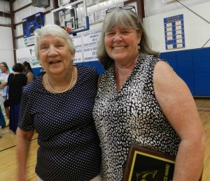 Karen Lovejoy, right, received the Community Service award, bestowed each year by the graduating class. With her is Kay Riddick