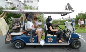 """A parade entry, Ocracats, by visitors, received the third-place prize in the """"Wheels"""" category. Photo by C. Leinbach"""