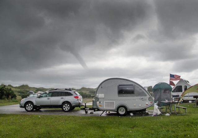 A waterspout forms farther south of where Summer Brown encountered the first one. Photo by Summer Brown