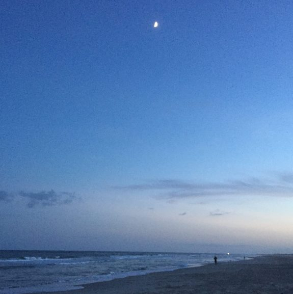 Ocracoke beach moon rise.
