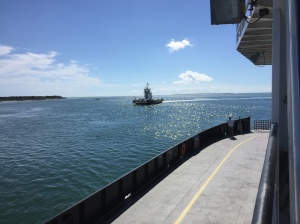 Ferries to and from Hatteras Thursday afternoon traverse the calm waters of the Pamlico Sound. Photo: C. Leinbach