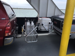 """Ocracoke visitor snapped this """"battle of the coolers"""" shot while riding the Hatteras Ferry earlier in the season. Photo: George E. Kean"""