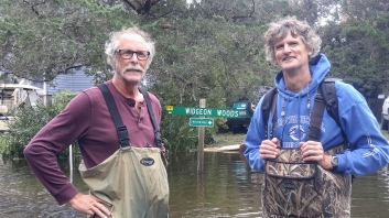 Tom Pahl, left, and Bob Chestnut in the garb of the day--chest waders. Photo: P. Vankevich