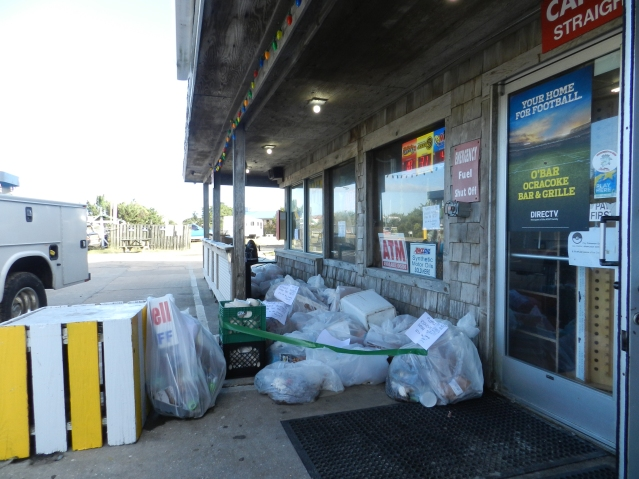 The Ocracoke Beachcomber Gas Station had to throw out ice cream, milk, meats and much more from the storm. Photo: C. Leinbach