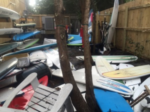 Hurricane Matthew created surfboard soup at Ride the Wind Surf Shop. Photo courtesy of Bob Chestnut