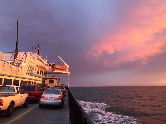 Beautiful sunsets are frequent backdrops on ferry rides to and from Ocracoke. This view was taken on the Swan Quarter ferry heading toward Ocracoke. Photo: C. Leinbach