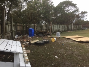 Hurricane Matthew's waters transported all kinds of items all over the island. This is an example of some scattered debris behind the Beachcomber Campground. Photo: C. Leinbach