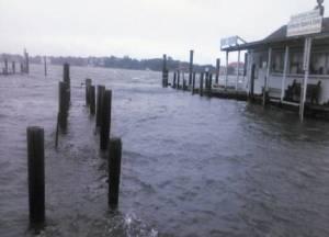 High water from Hurricane Matthew at the Community Square dock. Photo: Scott Bradley