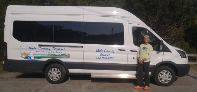Hyde County's new van for islanders going to doctor's appointments with driver Elizabeth Dyer. Photo by P. Vankevich