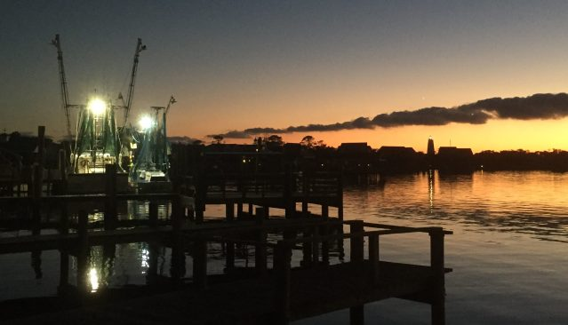 Shrimp boats in early December are still delivering their bounty to the Ocracoke Seafood Co. Photo: C. Leinbach