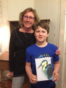 Charma Casey with young artist Daymon Esham. Photo: C. Leinbach