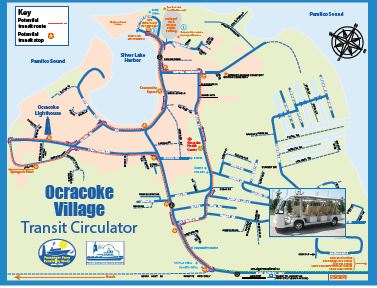 The loop route features 12 stops in the village boundaries. The LTV route is approximately 14 miles long and will provide access to ferries on both ends of the Ocracoke Island. This vehicle will also provide for the ability to walk on to the existing vehicle ferry in the event that a passenger misses their passenger ferry departure and no space is available on the next departure.