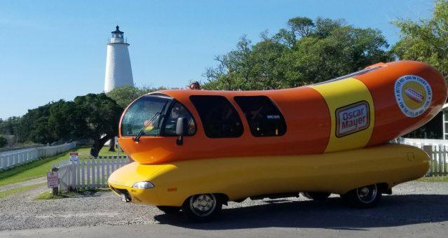 The Oscar Mayer Wienermobile visits the Ocracoke lighthouse