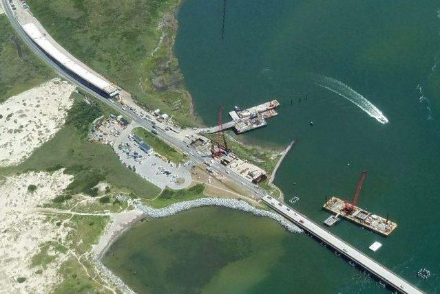 Power outage Ocracoke NC; Tideland EMC photo of Bonner Bridge construction